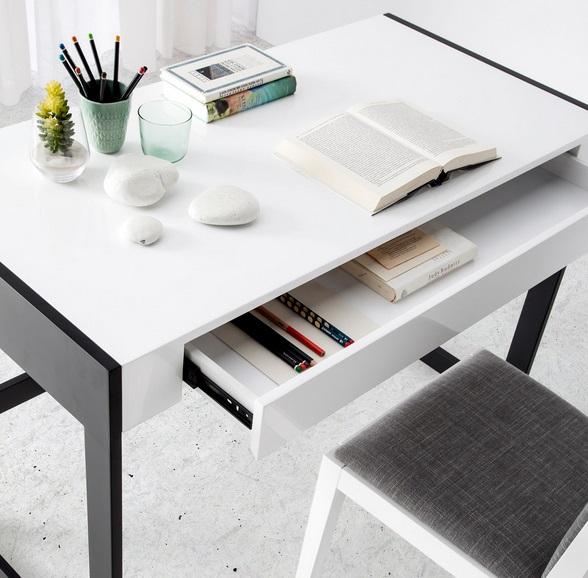 Escritorio Palermo blanco brillo acero negro 120x60