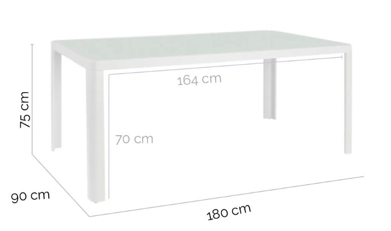 Mesa de comedor Stella aluminio blanco 180x90 cm