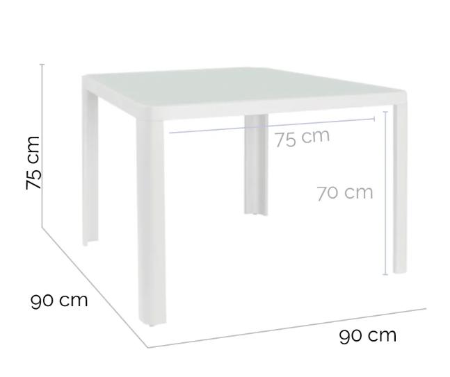 Mesa de comedor Stella aluminio blanco 90x90 cm