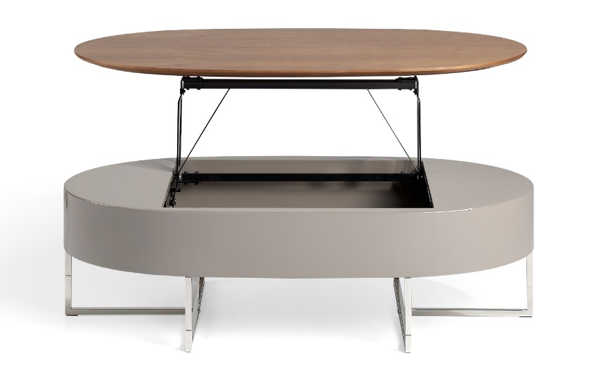 Mesa de centro elevable Oxford nogal moka 120x60