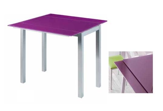 Mesa de cocina extensible Leiria cristal morada