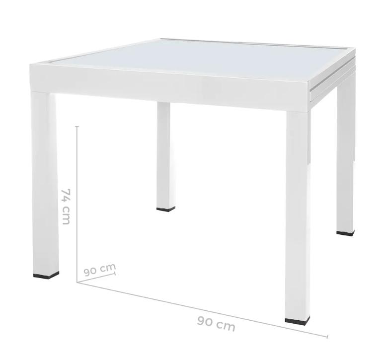 Mesa extensible Thais aluminio blanco 90x90 cm