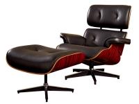 Lounge Chair con ottoman piel negro