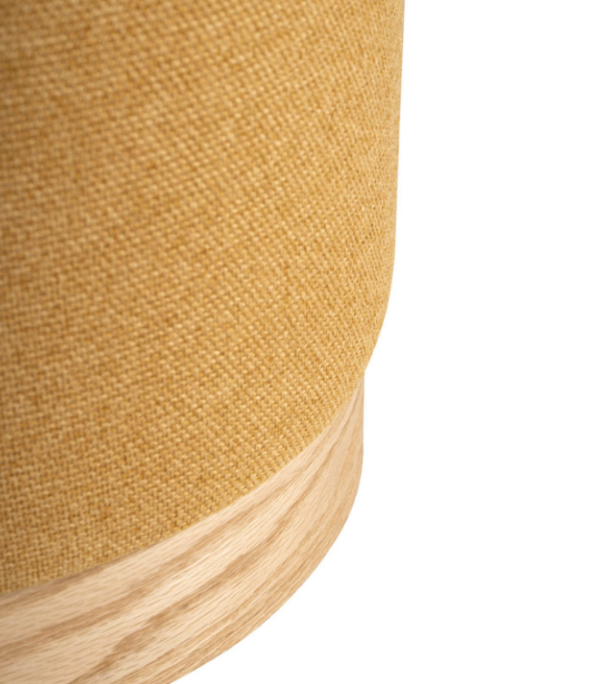 Puff Angus base madera tela mostaza 40 cm
