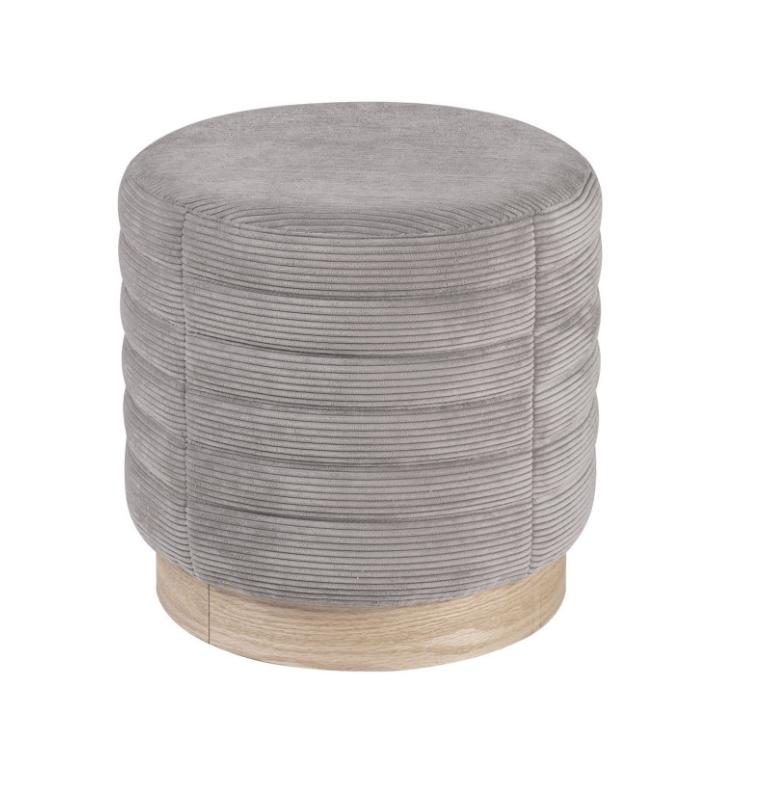 Puff Saul base madera tela rayada gris 40 cm