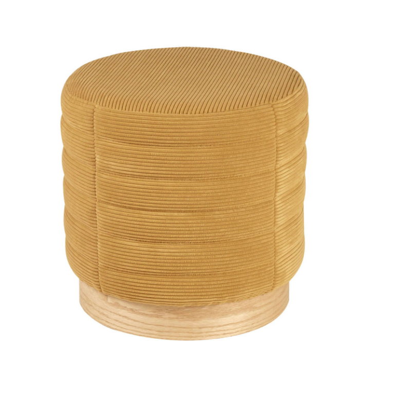 Puff Saul base madera tela rayada mostaza 40 cm