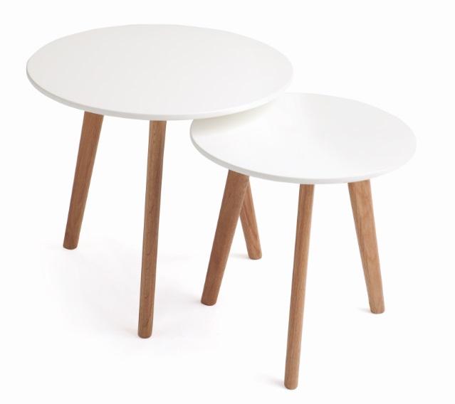 Set mesas nordicas blanco mate pies roble