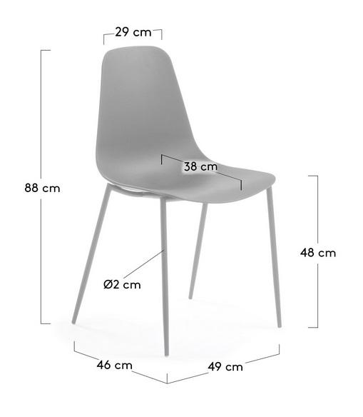 Silla metal plastico gris Easy