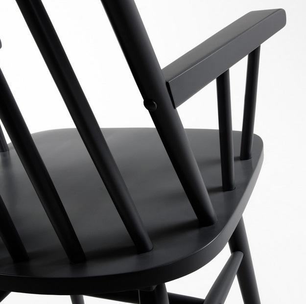 Silla windsor brazos madera negra