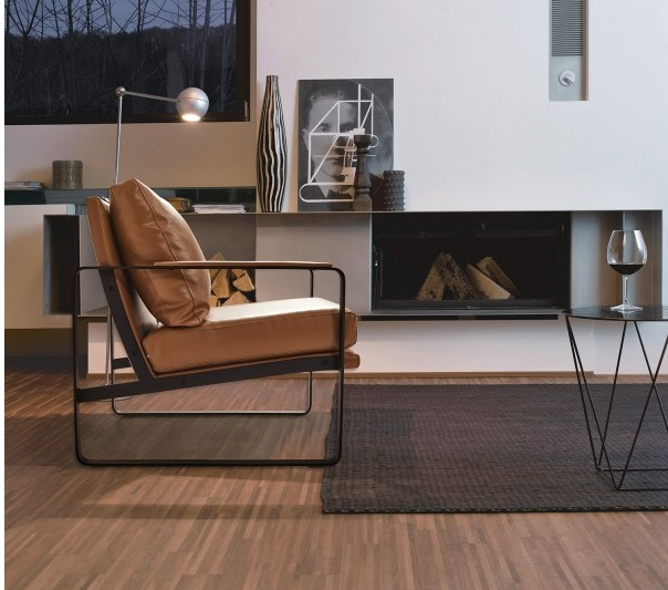 Sillon Bauhaus berlin piel marron acero negro