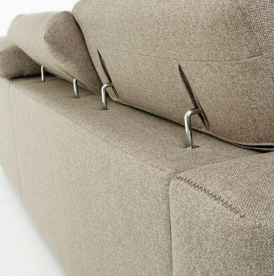 Sofa binari deslizante 3 plazas chaise longue tela beige
