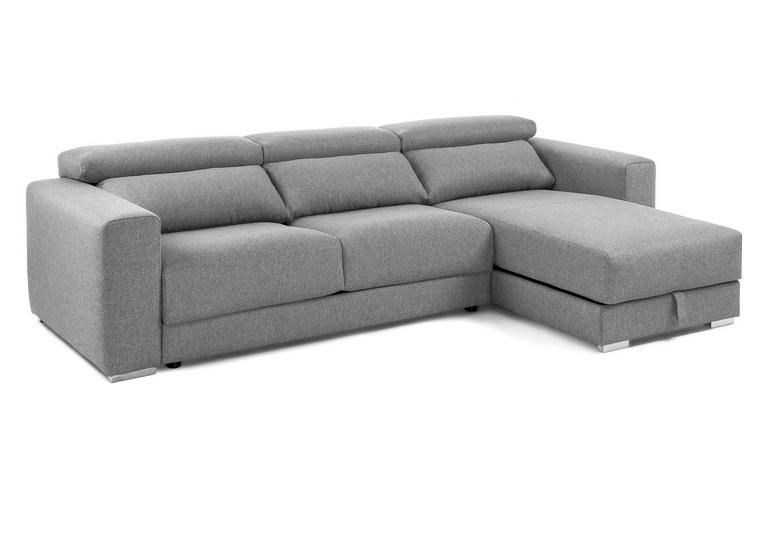 Sofa binari deslizante 3 plazas chaise longue tela gris