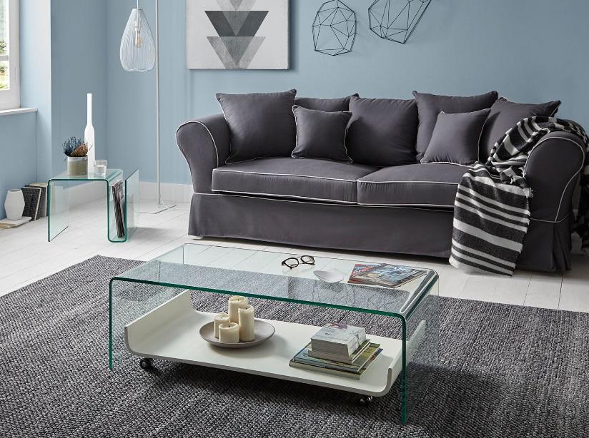 Sofa Mozart tela gris 4 plazas
