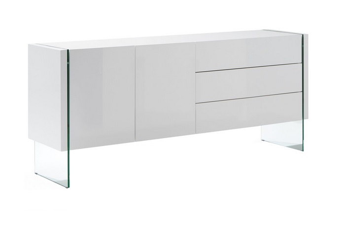 Aparador marsala blanco brillo vidrio transparente