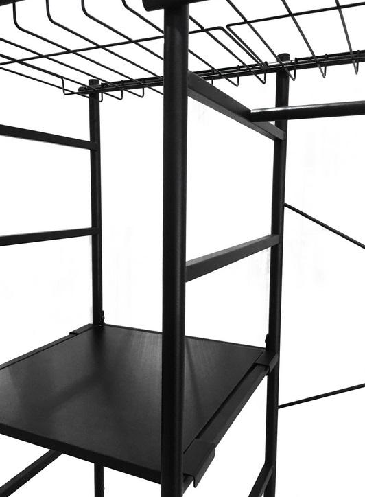 Armario abierto metalico negro mate campus 180x120