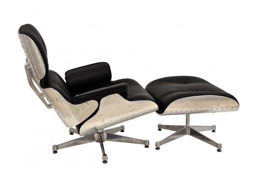 Butaca Eames con ottoman piel negra aluminio base acero pulido
