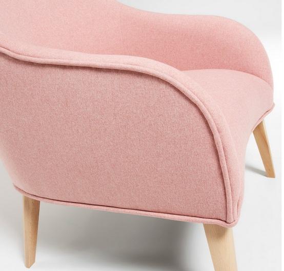 Butaca hall tela rosa patas haya