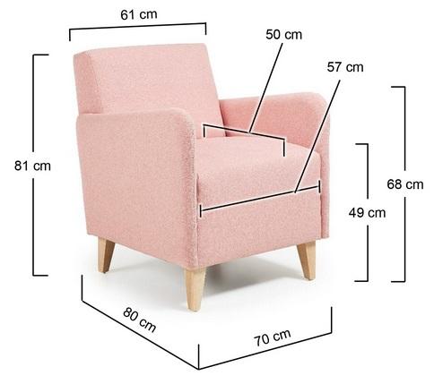 Butaca hotel tela rosa patas haya