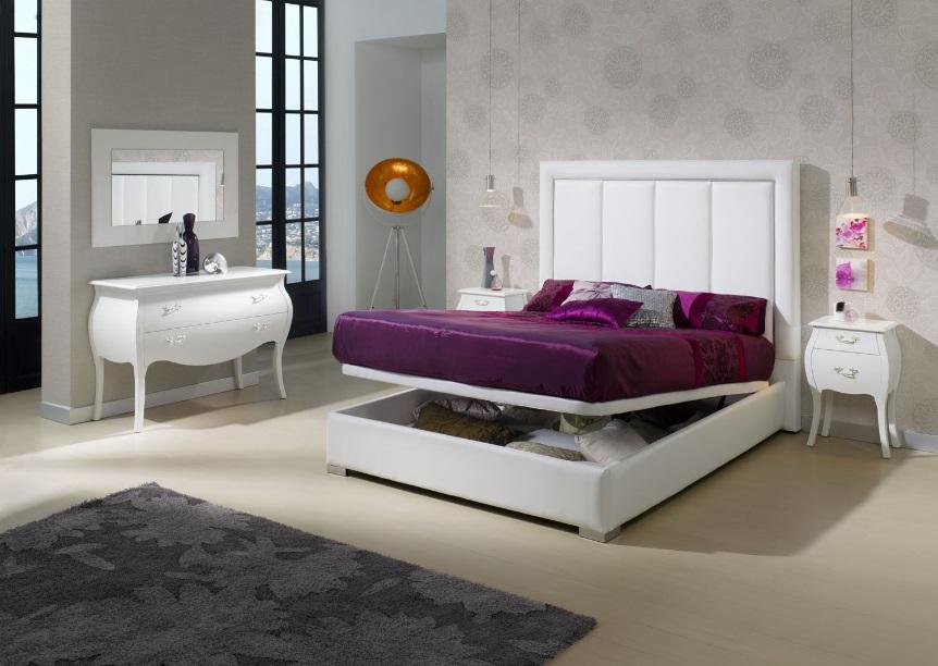 Cama tapizada canape abatible monica for Dormitorio matrimonio cama canape