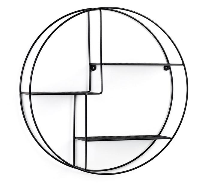 Estanteria circular de pared acero negro