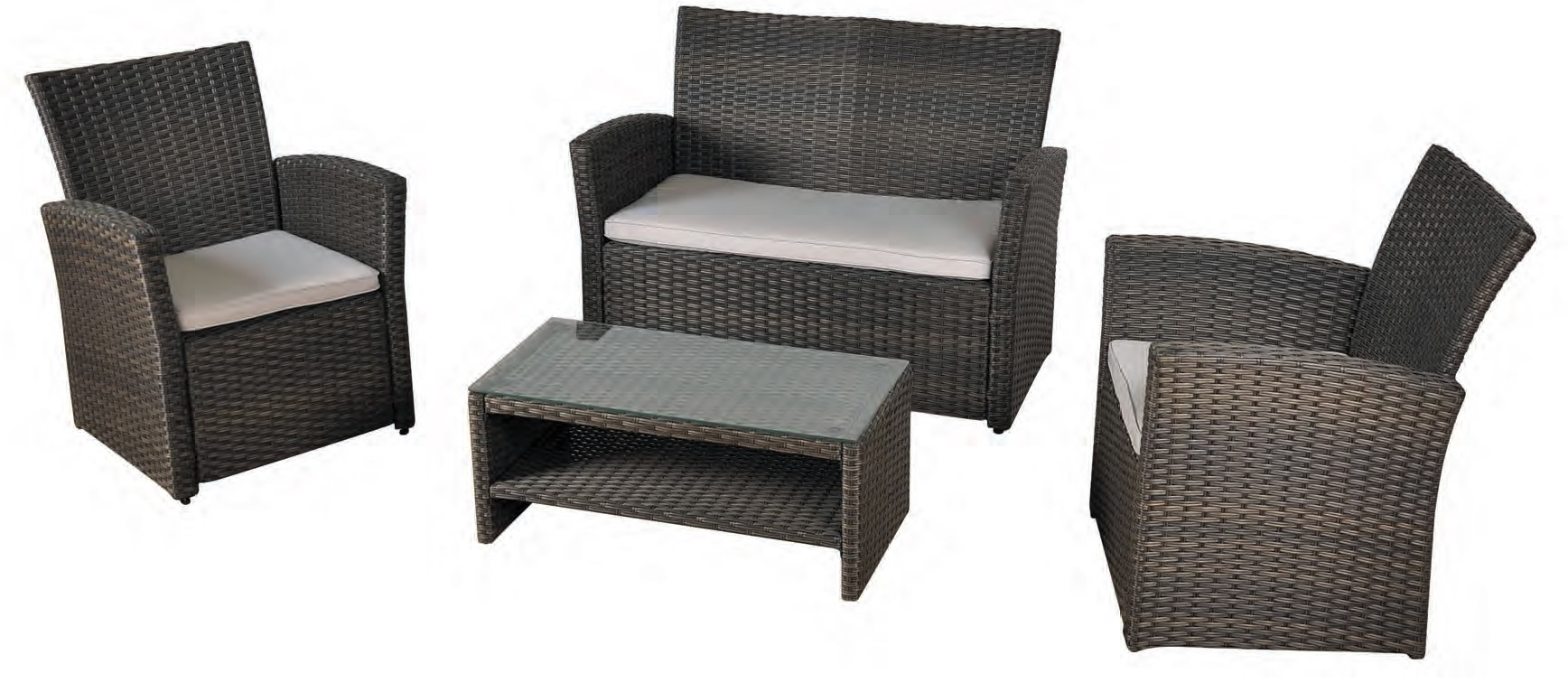 Set sofa terraza economico rattan oliver for Muebles de terraza de rattan