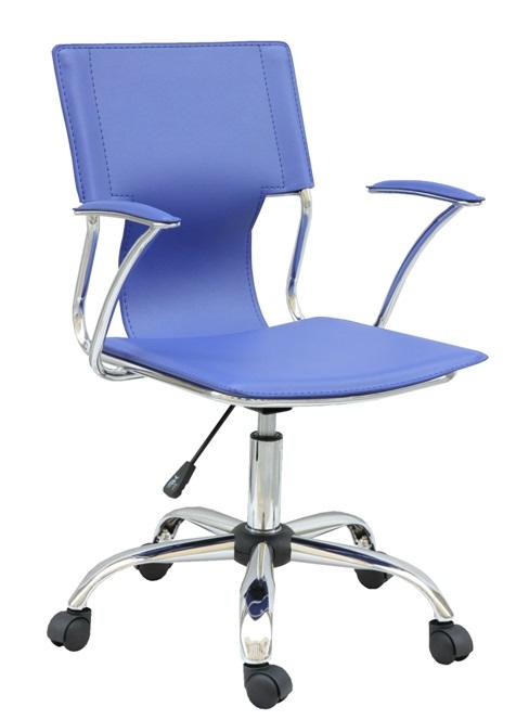 Silla oficina giratoria tapizado azul for Sillas altas giratorias para oficina
