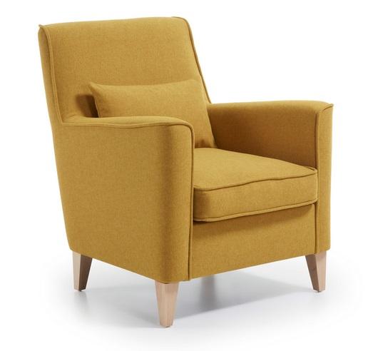 Butaca cozy tela amarillo mostaza pies haya - Butacas y sillones ...