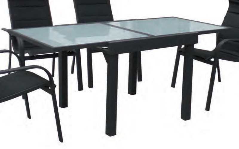 Mesa extensible aluminio antracita patrick www - Mesas de terraza extensibles ...