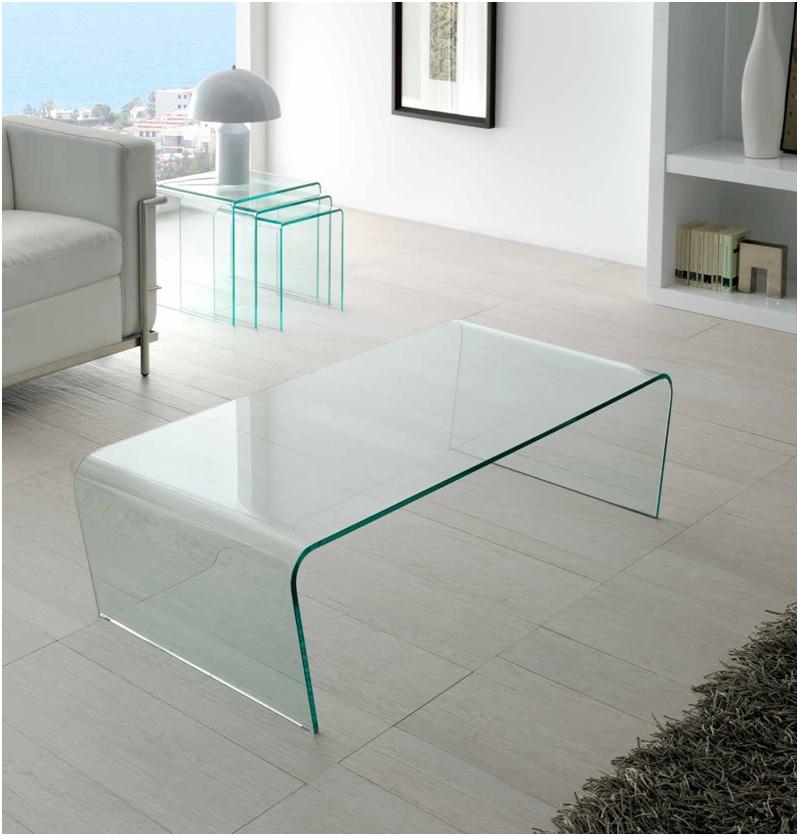 Mesa de centro cristal curvado una pieza ct 205 dugar home - Mesas centro cristal ...
