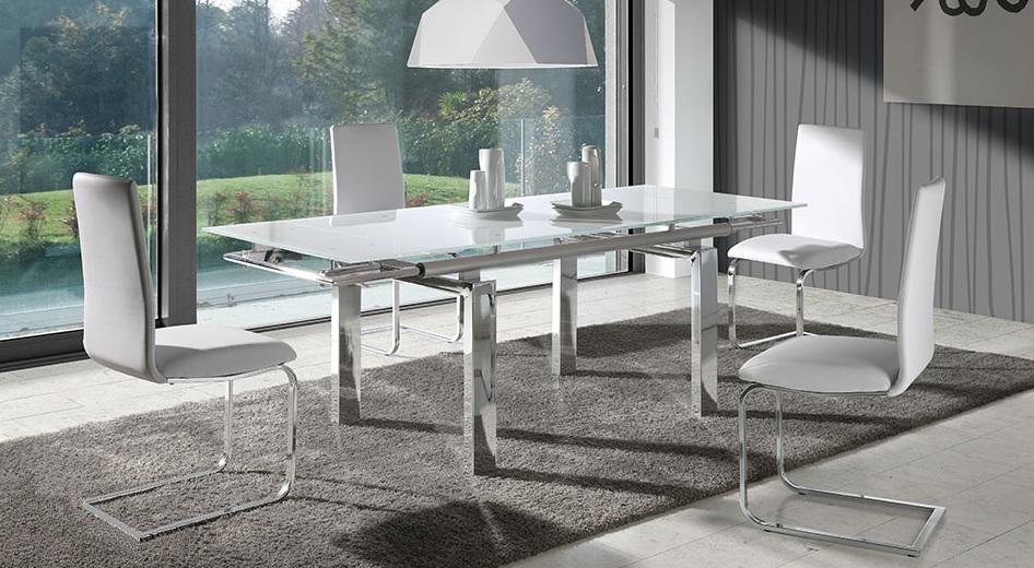 Mesa de comedor cromada blanco venecia for Mesas de cristal extensibles para comedor