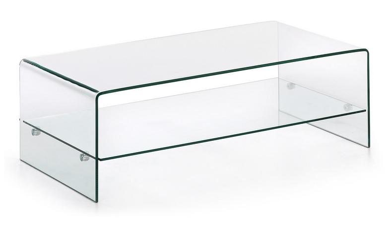 Mesa de centro cristal 110x55 con balda for Mesa cristal 120x70