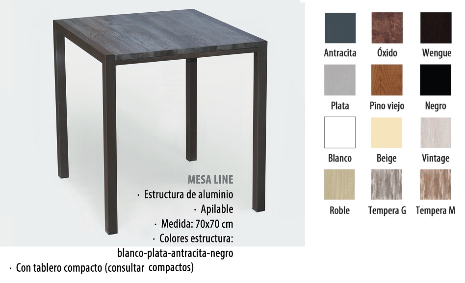 mesa de aluminio tablero compacto line 70x70. Black Bedroom Furniture Sets. Home Design Ideas