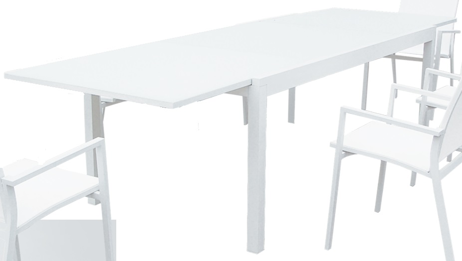 Mesa terraza aluminio blanco extensible samoa 200 300x100 - Mesas de terraza extensibles ...