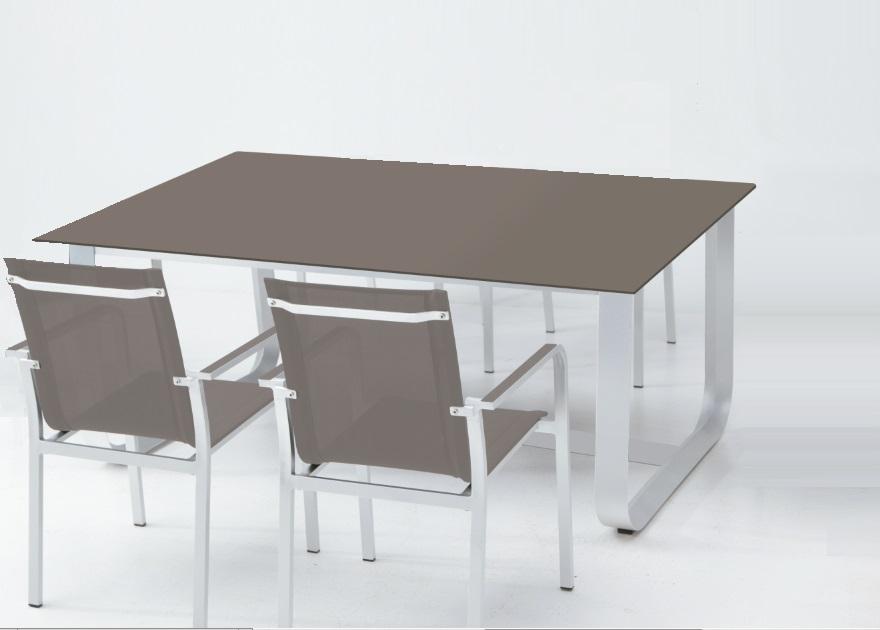 mesa de terraza aluminio cristal taupe esparta www