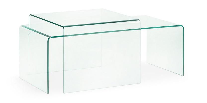 Mesa de centro cristal templado transparente 110x50 cm - Mesa centro transparente ...