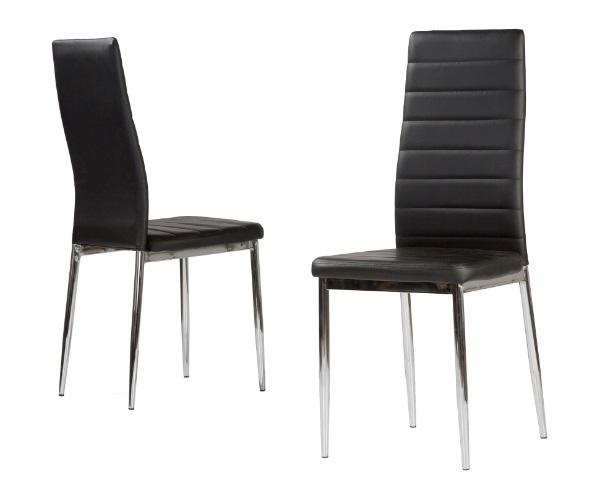 4 uds silla de cocina polipiel negro patas cromadas nantes for Sillas cocina polipiel