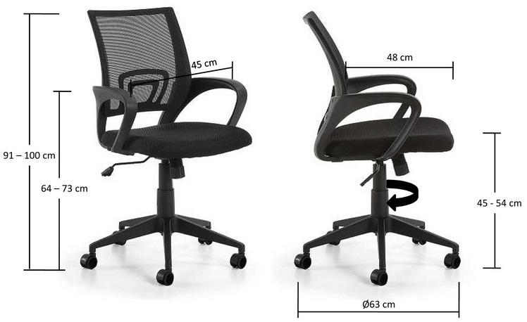 Silla operativa ergonomica easy negro - Medidas silla ...