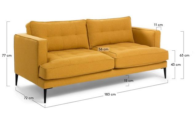 Sofa 3 plazas florence tela mostaza pies acero negro www - Sofa 3 plazas medidas ...