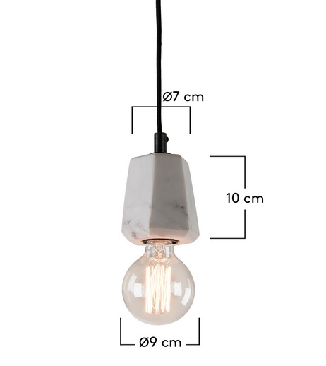 Lampara suspension marmol prisma blanco 12