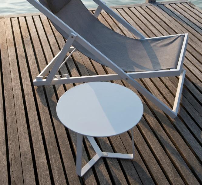 Mesa auxiliar apollo redonda aluminio blanco 44x37