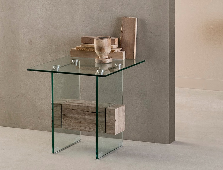 Mesa auxiliar roble y cristal Nadine 50x50