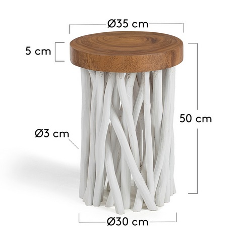 Mesa auxiliar ramas madera blanco natural 50x35