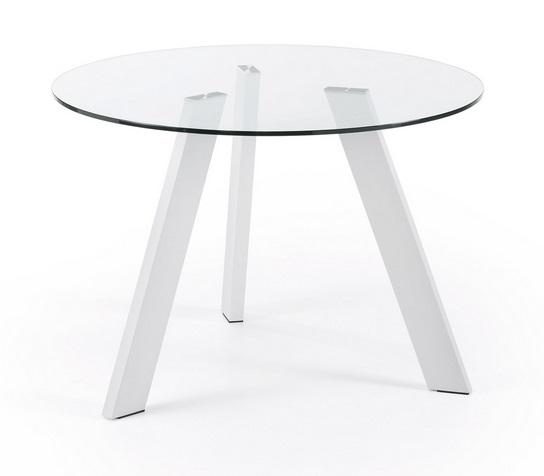 Mesa de comedor redonda cristal pies acero blanco 110 for Cristal mesa redonda