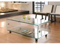 Mesa centro cristal con ruedas 120x60