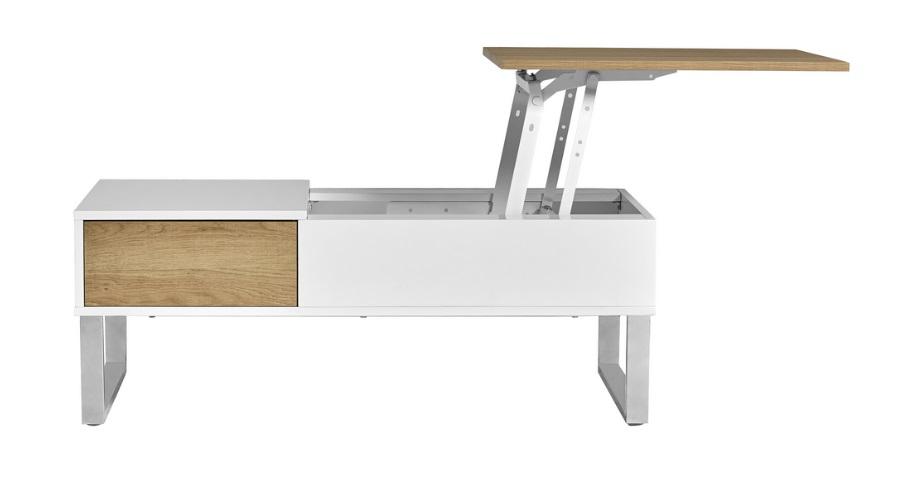 Mesa de centro elevable roble blanco Niza 110x60