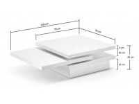 Mesa de centro movible blanco 70x70