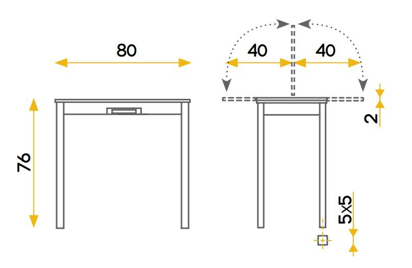 Mesa de cocina extensible Pavia roble 80x40-80 cm