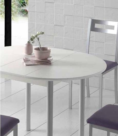 Mesa de cocina redonda extensible Lagos blanca 90-120 cm