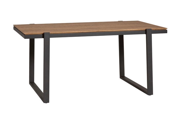 Mesa de comedor Liz roble envejecido metal negro 160x90