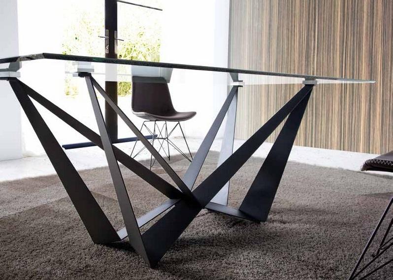 Mesa Calais cristal acero negro mate 200x100